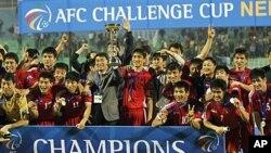 20일 AFC 챌린지컵에서 우승한 북한 축구팀.