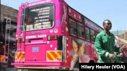 """A recent creation from Peter Kanyallu, also known as Nyash, is a matatu dedicated to the movie """"Titanic."""" January 26, 2015. (Hilary Heuler/VOA News)"""