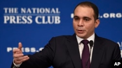 FILE - In this Dec. 4, 2015 file photo FIFA presidential candidate Jordanian Prince Ali Al Hussein speaks at the National Press Club in Washington. Prince Ali is one of the five candidates to succeed Sepp Blatter as FIFA President on Feb. 26, 2016.