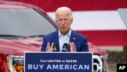 FILE - In this Wednesday, Sept. 9, 2020 file photo, Democratic presidential candidate former Vice President Joe Biden speaks during a campaign event on manufacturing and buying American-made products at UAW Region 1 headquarters in Warren, Mich.