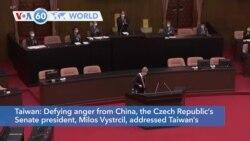VOA60 Addunyaa - Defying China, the Czech senate president Milos Vystrcil addressed Taiwan's legislature