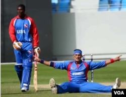 An Afghan cricketer on the ground