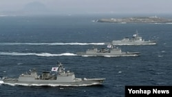 서해에 배치된 한국의 이지스 구축함들 (자료사진)