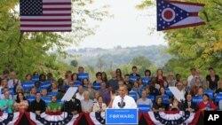 Presiden Obama dalam sebuah kampanye di Ohio (Foto: dok). Ohio merupakan salah satu 'swing states' yang merupakan penentu bagi perolehan suara dalam pemilihan presiden sebulan mendatang.