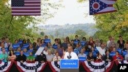 신시내티에서 캠페인 집회에서 연설하는 바락 오바마 미국 대통령(자료사진)