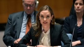 Angelina Jolie, Special Envoy for the U.N. High Commissioner for Refugees, speaks before a U.N. Security Council meeting on sexual violence in conflict, June 24, 2013, at UN headquarters in New York.