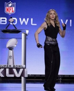 Madonna at a Super Bowl press conference