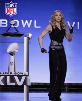 Madonna at a Super Bowl press conference