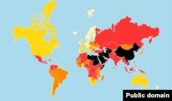 """პრესის თავისუფლების რუკა, """"რეპორტიორები საზღვრებს გარეშე"""""""