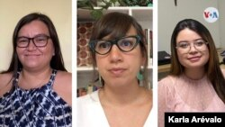 Clanci Rosa, Laura Aguirre y Karen Moreno son tres jóvenes periodistas salvadoreñas que ejercen el oficio desde una perspectiva de género. [Foto: Montaje de Karen Sánchez]