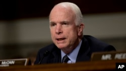 FILE - Senate Armed Services Committee Chairman Sen. John McCain, R-Ariz.
