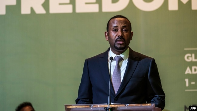 FILE - Abiy Ahmed, prime minister of Ethiopia, speaks during the Guillermo Cano World Press Freedom Prize ceremony in Addis Ababa, May 2, 2019.