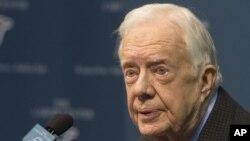Jimmy Carter habló sobre su diagnóstico de cáncer durante una conferencia de prensa en el Centro Carter en Atlanta, el jueves, 20 de agosto de 2015.