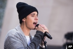 "Justin Bieber performs on NBC's ""Today"" show at Rockefeller Plaza on Wednesday, Nov. 18, 2015 in New York."