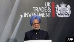 Thủ tướng Ấn Ðộ Manmohan Singh đọc diễn văn tại hội nghị thượng đỉnh ở London về đầu tư giữa Ấn và Anh