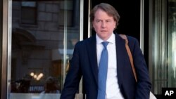 FILE - Donald McGahn, seen in New York, is the White House counsel. McGahn, a key adviser to President Donald Trump, will be leaving his position in the coming weeks, Trump said Wednesday.