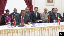 27일 케냐 나이로비에서 열린 '정부간개발기구' 회의에서, 우후루 케냐타 케냐 대통령(왼쪽)이 남수단 사태에 관해 발언하고 있다.