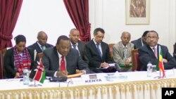 Tổng thống Kenya Uhuru Kenyatta phát biểu trong cuộc họp về Nam Sudan, 27/12/13