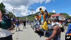 Aksi protes di Abepura, Jayapura, Papua hari Kamis (29/8).