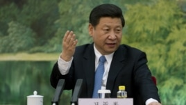 China's newly appointed leader Xi Jinping gestures at a meeting with foreign experts at the Great Hall of the People, Beijing, Dec. 5, 2012.