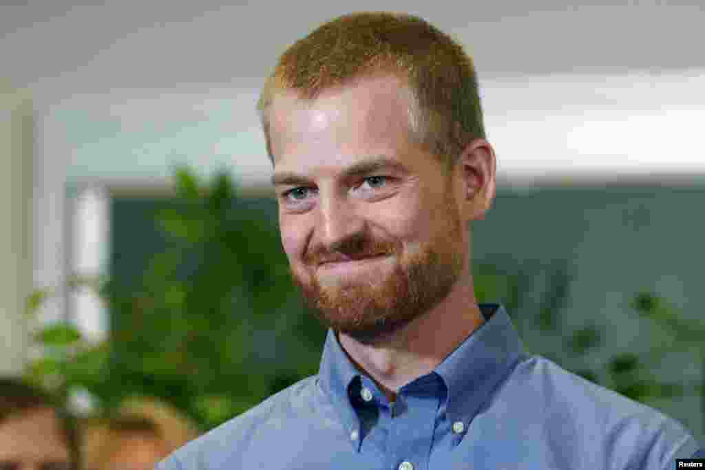 Kevin Brantly, the American doctor who, along with a second American aid worker, contracted Ebola treating victims of the deadly virus in Liberia, has recovered and was discharged from Emory University Hospital, Atlanta, Georgia, Aug. 21, 2014.