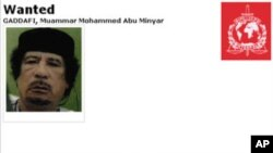 The wanted poster issued by Interpol for Libya's Moammar Gadhafi seen in this screenshot, September 9, 2011.
