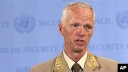 19일 기자회견을 가진 로버트 무드 유엔 시리아 평화감시단장.