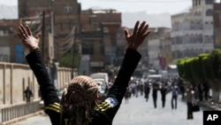 An anti-government protester appeals to government backers to stop throwing rocks during clashes in Sana'a, February 19, 2011