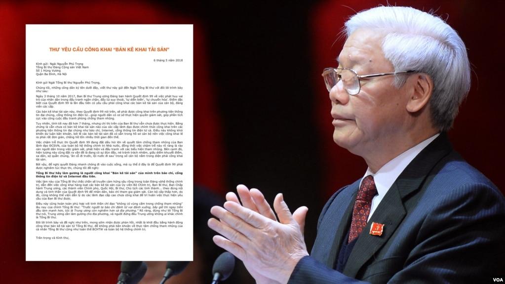 TBT Nguyễn Phú Trọng và lá thư kêu gọi ông công khai tài sản cá nhân.