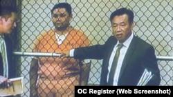 Danh hài Minh Béo lần đầu xuất hiện tại tòa ở thành phố Santa Ana hôm qua.