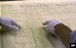 Huquqlar haqidagi qonunning asl nusxasi, Massachusetts shtati arxivida