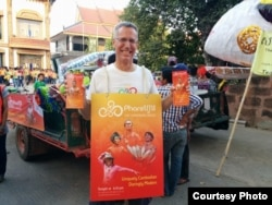 Craig Dodge, director of sales and marketing at Phare, the Cambodian Circus, at the Giant Puppet Parade, Phnom Penh, Cambodia, February 21, 2015. (Courtesy of Phare)
