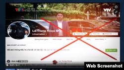 Trang Facebook của nhà báo Lê Trung Khoa. Chụp từ màn hình của VTV.