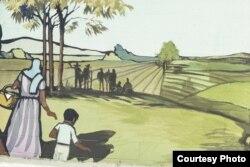 Nông dân gốc Mexico đến Quận Cam, trích Fountain Valley Mural. (Các ảnh tranh tường đều courtesy O'Cadiz Family Private Collection)