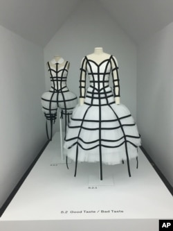 "This photo shows part of the exhibit from ""Rei Kawakubo/Comme des Garcons Art on the In-Between"" at The Metropolitan Museum of Art in New York, May 1, 2017."