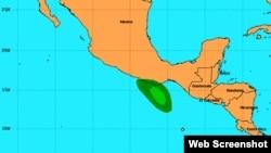 Localización de la tormenta tropical Carlota, este jueves. [Imagen: Centro Nacional de Huracanes].