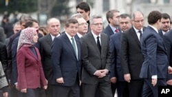 Delegacija visokih turskih i nemačkih zvaničnika posle bombaških napada u Istanbulu, 13. januar 2015.