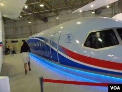 2013年莫斯科航展上展出的MS-21客机模型(美国之音白桦拍摄)