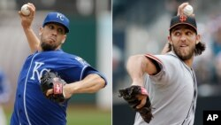 Pitchers James Shields (L) of Kansas City and Madison Bumgarner of San Francisco Giants to start the 2014 World Series.