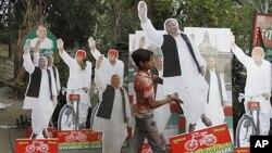 6일 의회 선거가 실시되고 있는 인도의 거리 풍경.