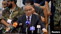Perdana Menteri Libya Ali Zeidan berbicara dalam upacara pengesahan undang-undang pemilu di Al Bayda, 20 Juli lalu.