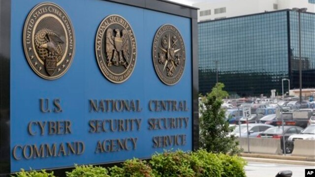 FILE - A sign identifying the National Security Agency's (NSA) headquarters is seen in Fort Meade, Maryland, outside of Washington, D.C.