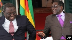 Prime Minister Morgan Tsvangirai and President Robert Mugabe (right)