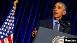 美國總統奧巴馬9月8日在東盟與東亞峰會結束後舉行的記者會上。