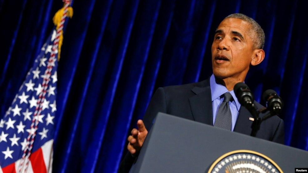 美国总统奥巴马在东盟和东亚峰会后的记者会上讲话