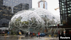 The Amazon Spheres are seen from 6th Avenue at Amazon's Seattle headquarters in Seattle, Washington, Jan. 29, 2018.
