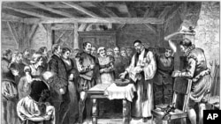 In this lithograph, Roanoke Colony settlers are shown baptizing Virginia Dare, the first child born in the New World to English parents. (Wikipedia Commons)