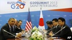 На переднем плане: Барак Обама и Синдзо Абэ. Санкт-Петербург. Россия. 5 сентября 2013 г.