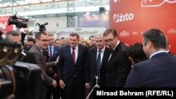 Milorad Dodik, Dragan Čović Aleksandar Vučić na mostarskom sajmu privrede, 10. april