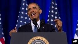 Shugaba Obama lokacinda yake jawabi kan shirin leken asiri da hukumar leken asiri ta na'urori ta Amurka take gudanarwa.
